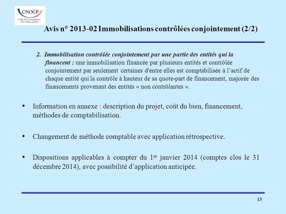 Avis n° 2013-02 Immobilisations contrôlées conjointement (2/2)
