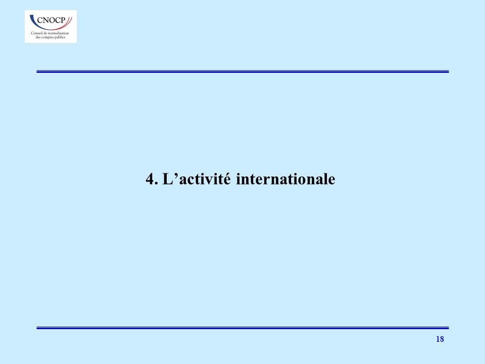 4. L'activité internationale