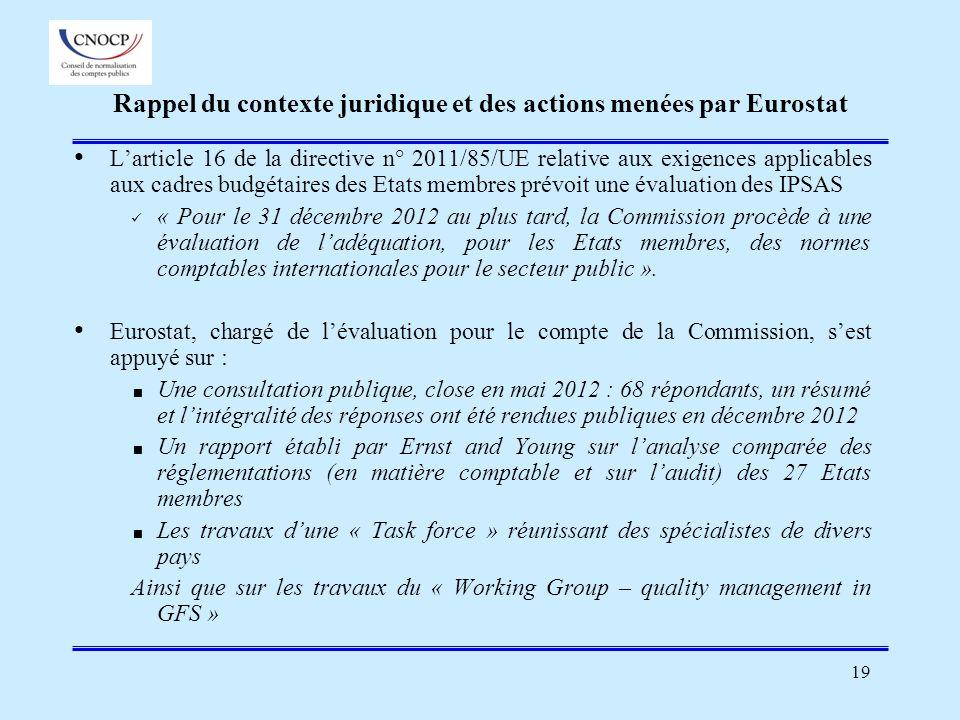 Rappel du contexte juridique et des actions menées par Eurostat