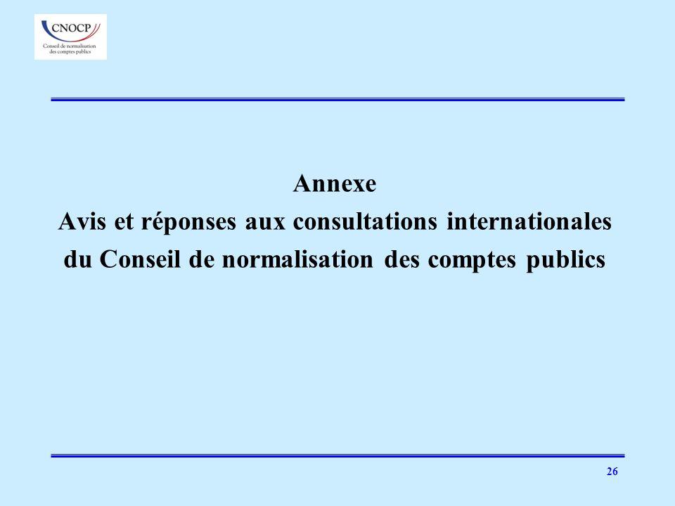 Avis et réponses aux consultations internationales