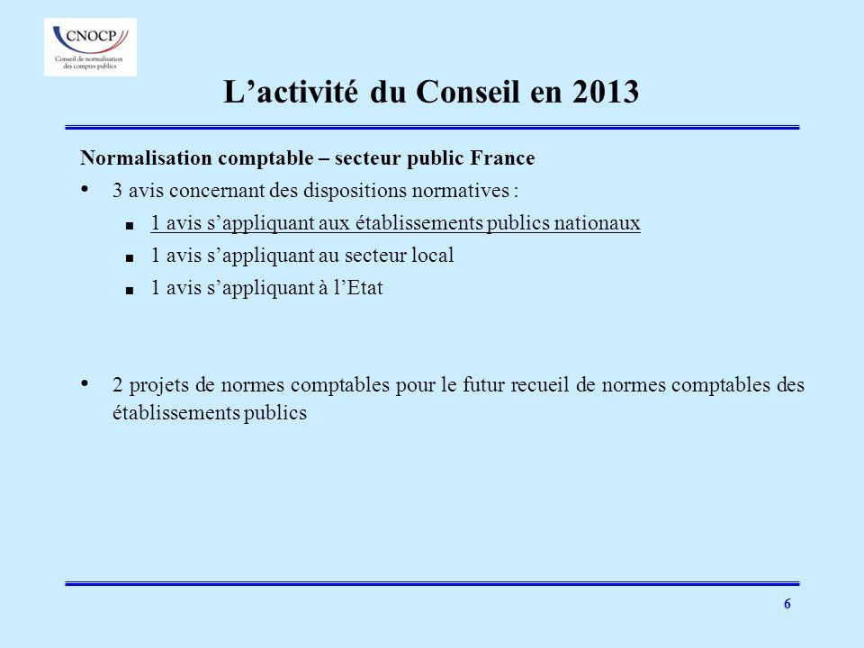 L'activité du Conseil en 2013