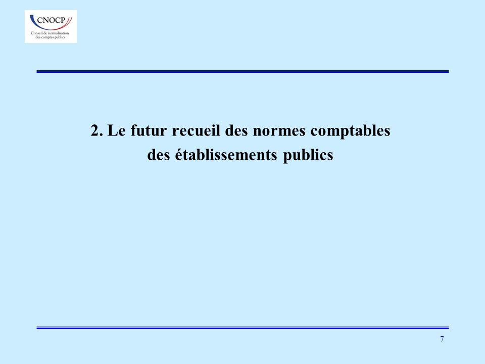 2. Le futur recueil des normes comptables des établissements publics