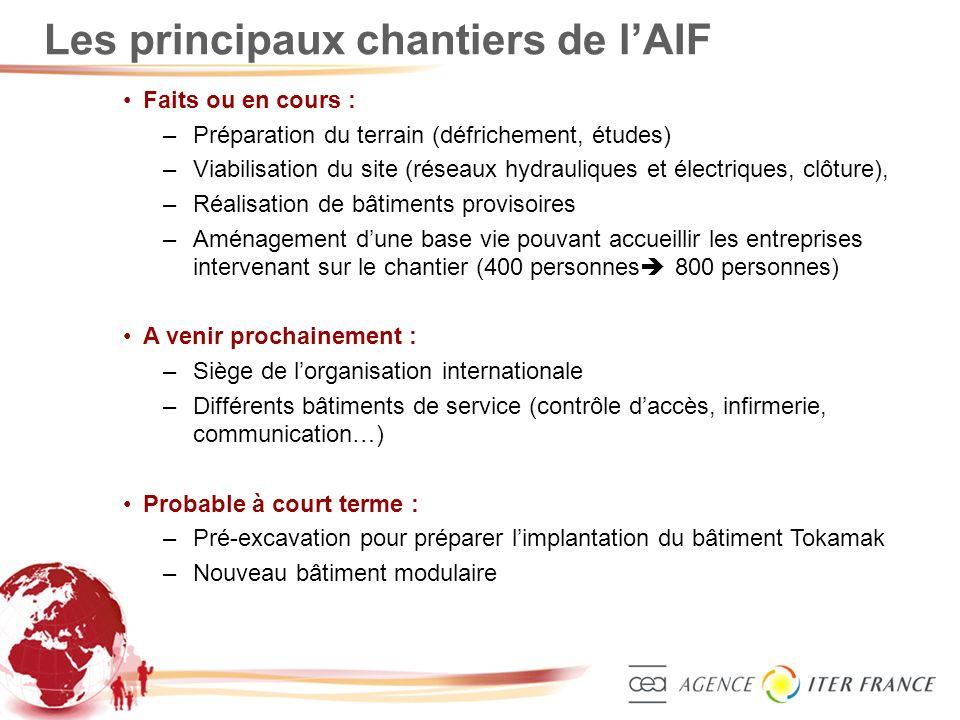 Les principaux chantiers de l'AIF