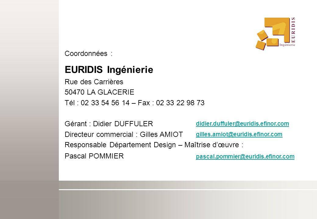 EURIDIS Ingénierie Coordonnées : Rue des Carrières 50470 LA GLACERIE