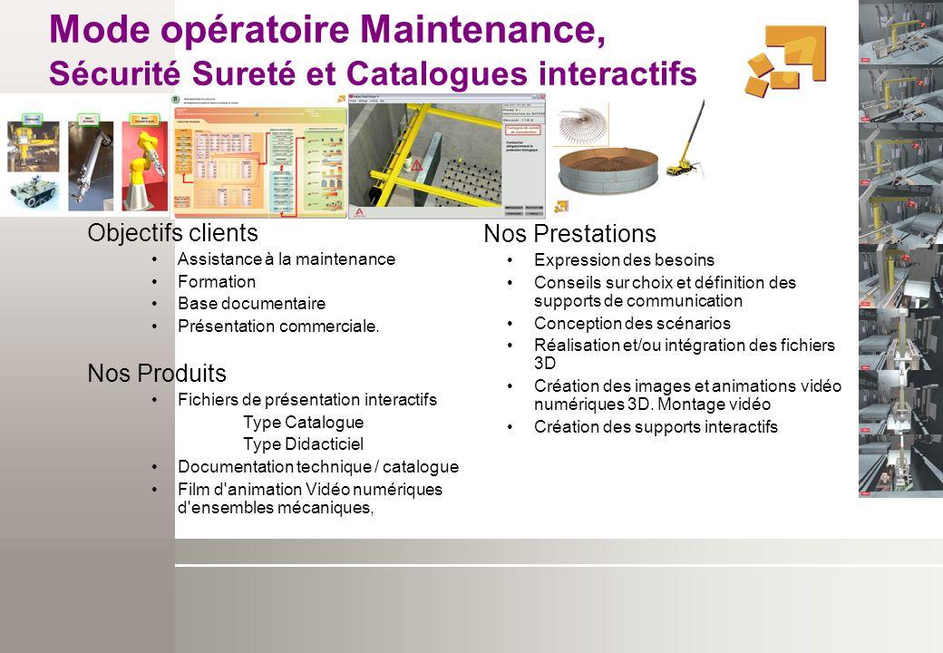 Mode opératoire Maintenance, Sécurité Sureté et Catalogues interactifs