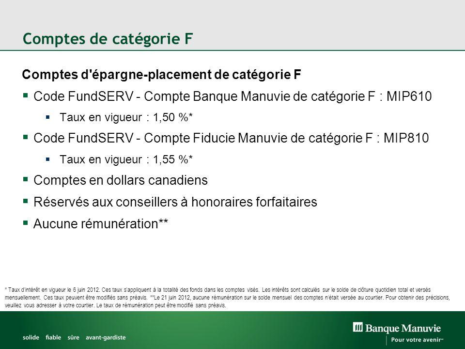 Comptes de catégorie F Comptes d épargne-placement de catégorie F