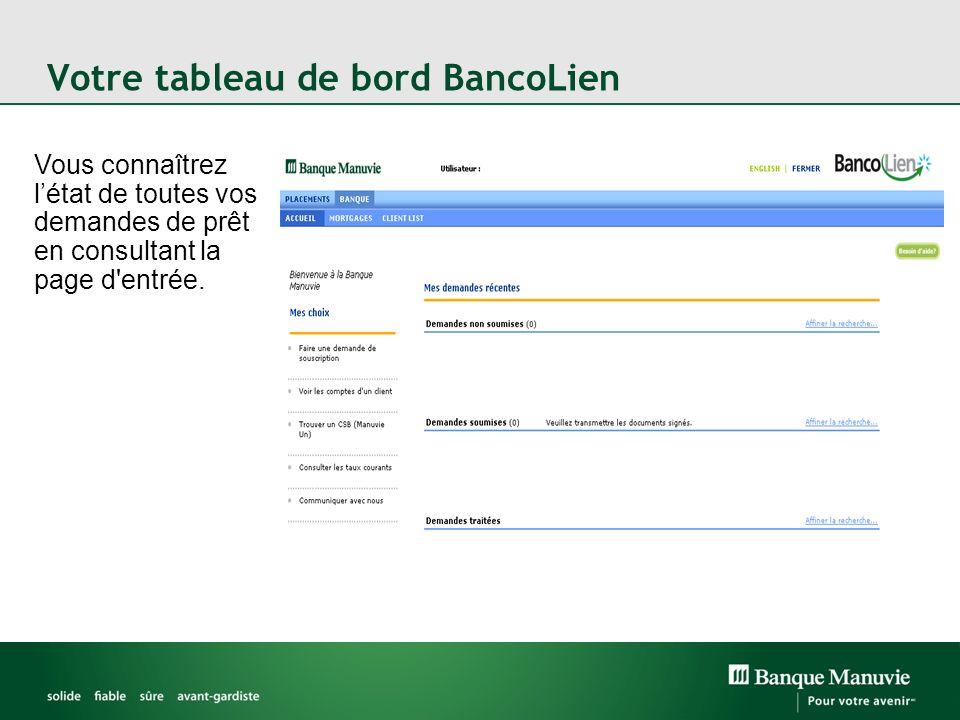 Votre tableau de bord BancoLien