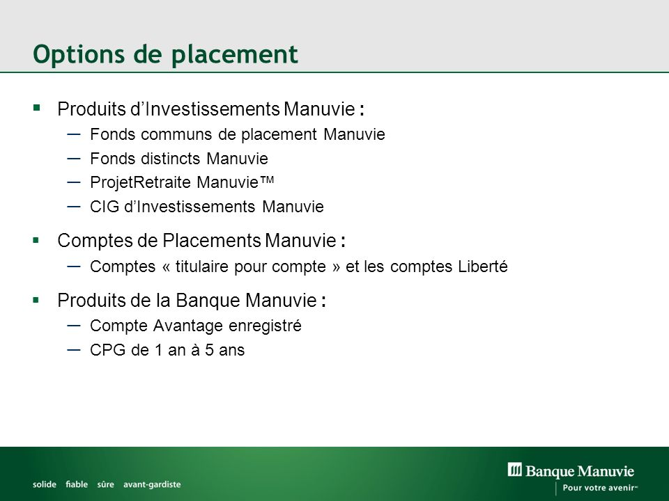 Options de placement Produits d'Investissements Manuvie :