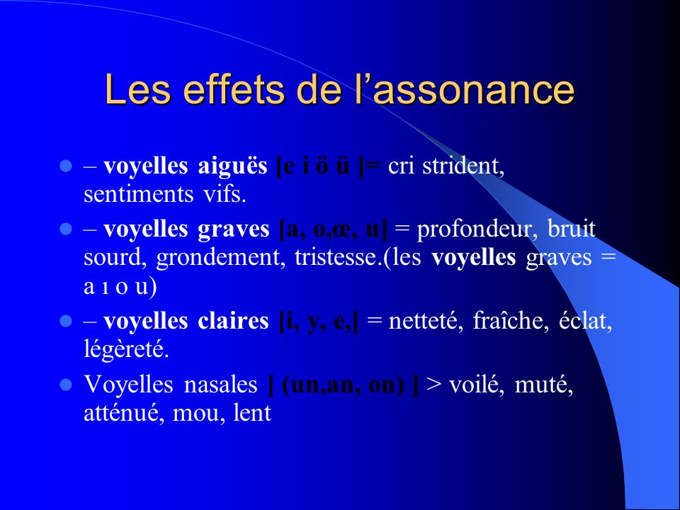 Les effets de l'assonance