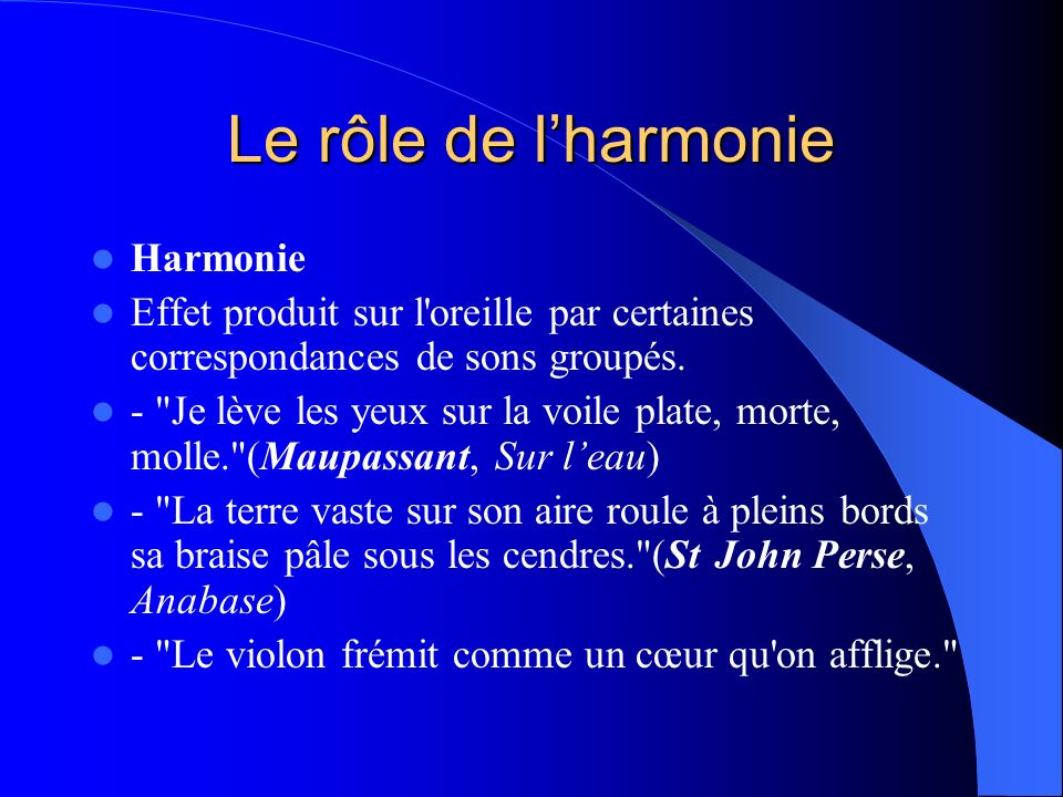 Le rôle de l'harmonie Harmonie