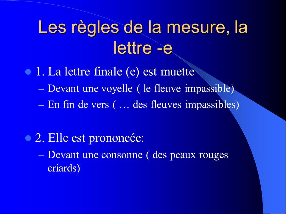 Les règles de la mesure, la lettre -e