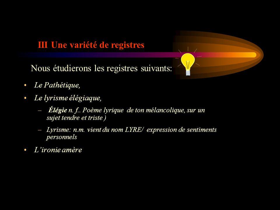 III Une variété de registres