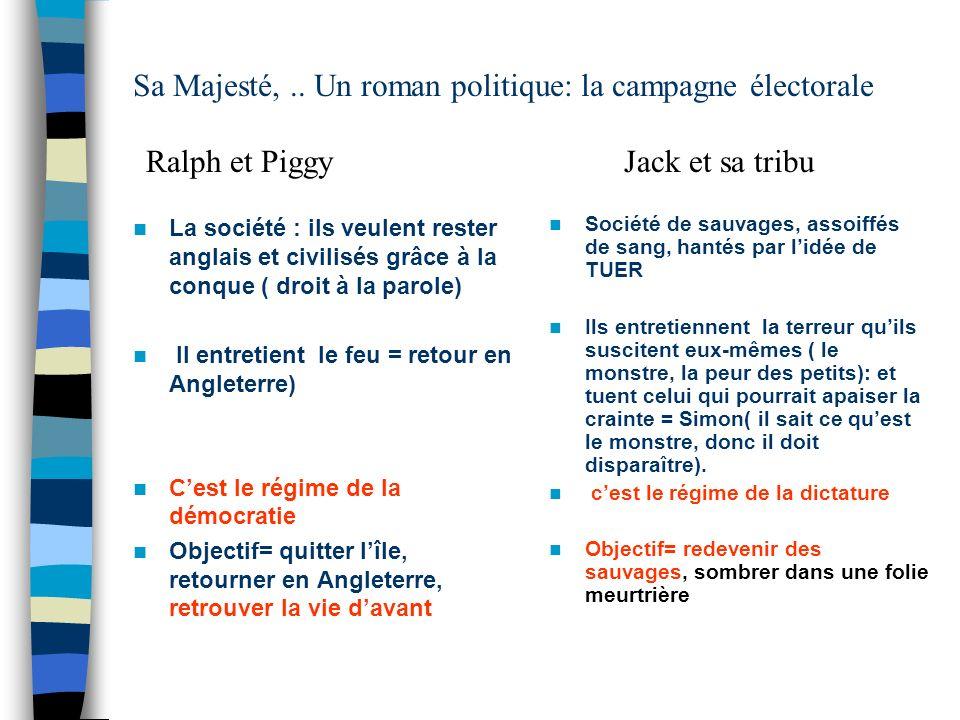 Sa Majesté, .. Un roman politique: la campagne électorale