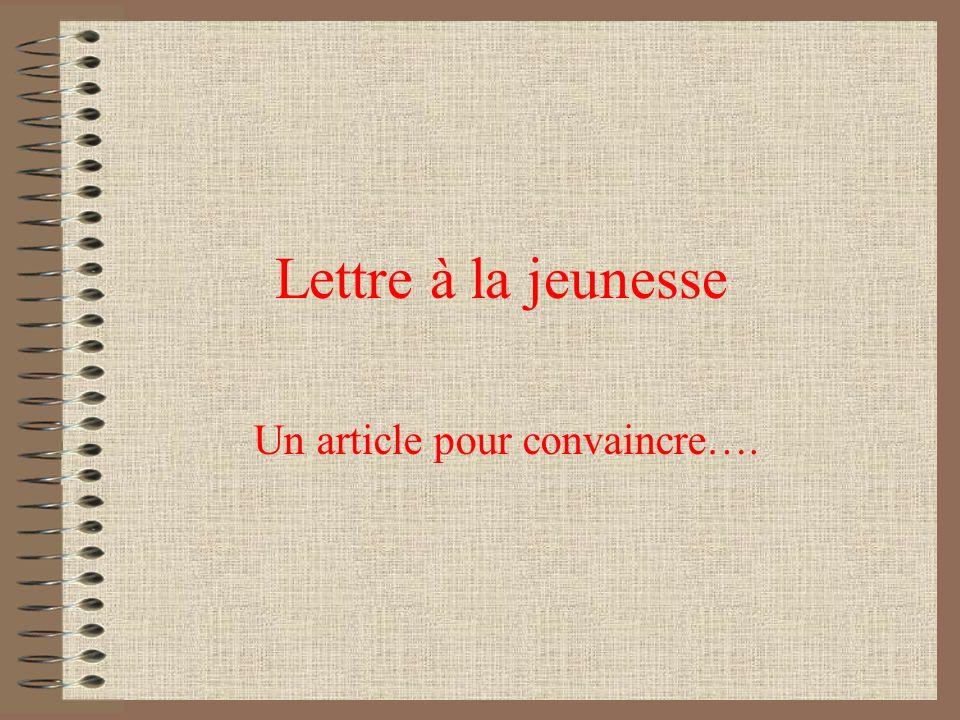 Un article pour convaincre….