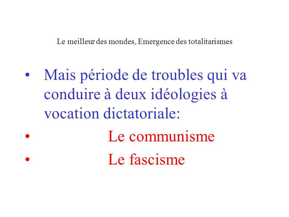 Le meilleur des mondes, Emergence des totalitarismes