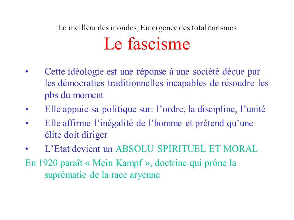 Le meilleur des mondes, Emergence des totalitarismes Le fascisme
