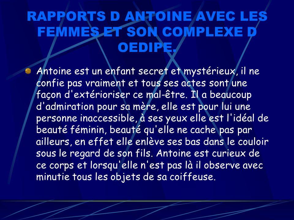 RAPPORTS D ANTOINE AVEC LES FEMMES ET SON COMPLEXE D OEDIPE.