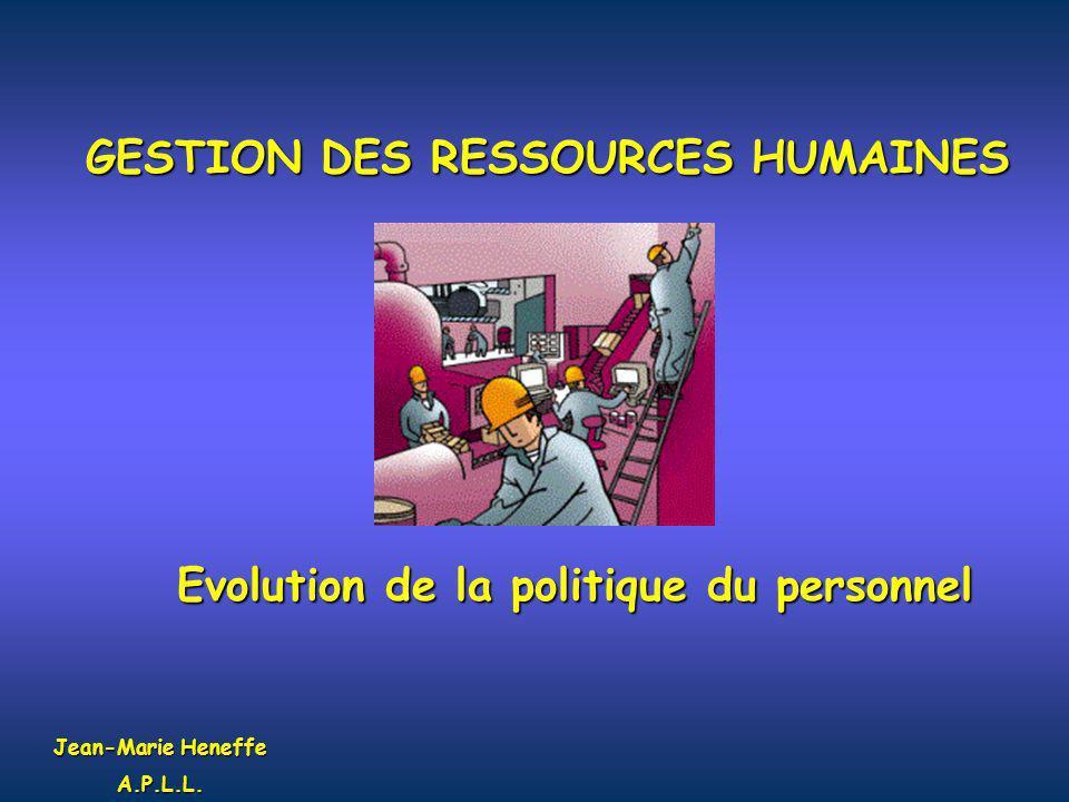 GESTION DES RESSOURCES HUMAINES Evolution de la politique du personnel
