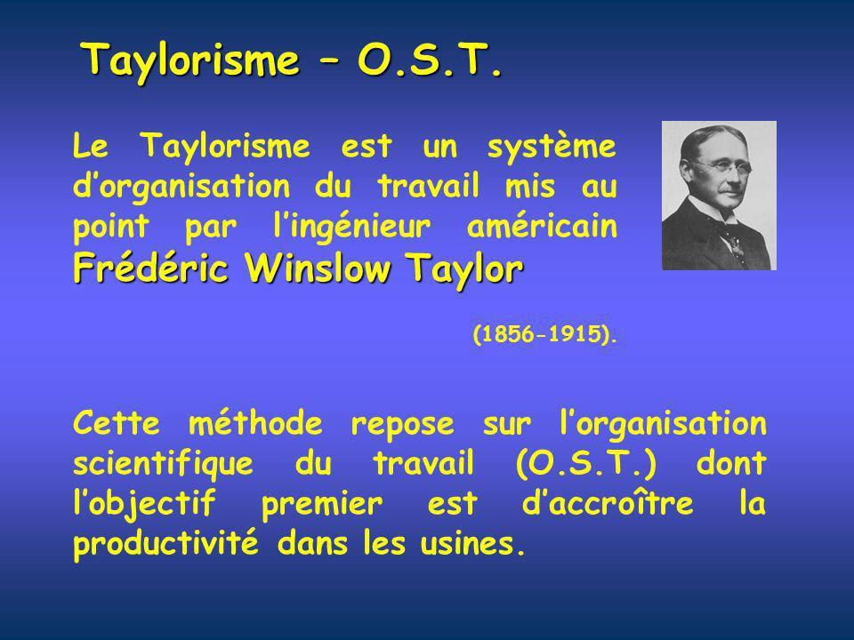 Taylorisme – O.S.T. Le Taylorisme est un système d'organisation du travail mis au point par l'ingénieur américain Frédéric Winslow Taylor.