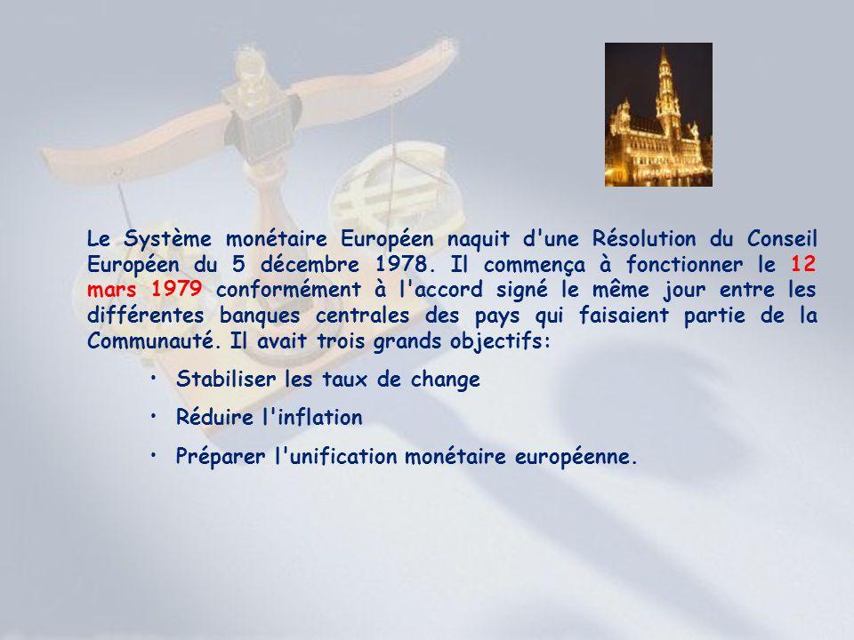 Le Système monétaire Européen naquit d une Résolution du Conseil Européen du 5 décembre 1978. Il commença à fonctionner le 12 mars 1979 conformément à l accord signé le même jour entre les différentes banques centrales des pays qui faisaient partie de la Communauté. Il avait trois grands objectifs: