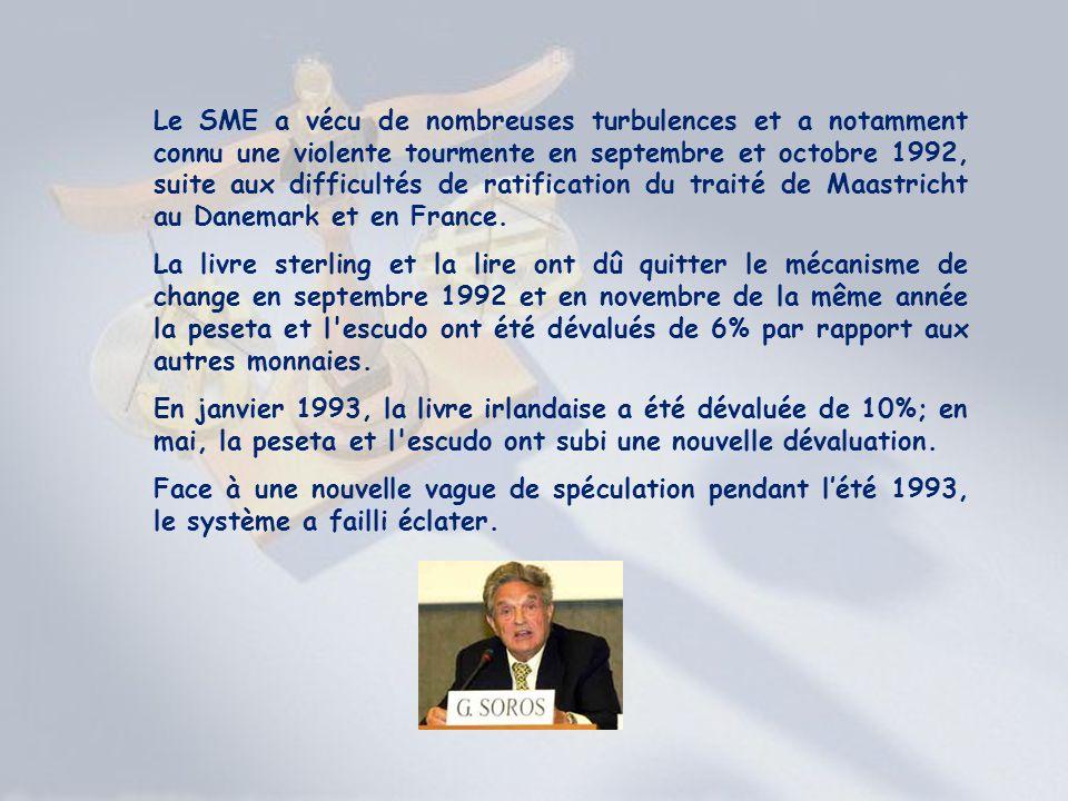 Le SME a vécu de nombreuses turbulences et a notamment connu une violente tourmente en septembre et octobre 1992, suite aux difficultés de ratification du traité de Maastricht au Danemark et en France.