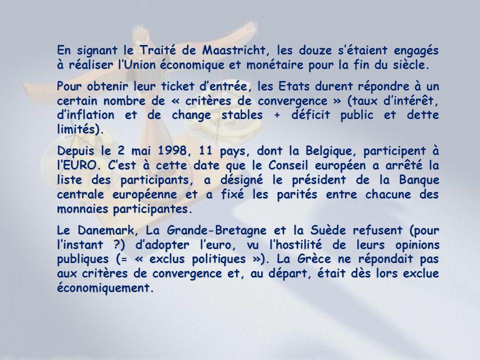 En signant le Traité de Maastricht, les douze s'étaient engagés à réaliser l'Union économique et monétaire pour la fin du siècle.
