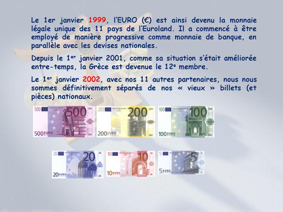 Le 1er janvier 1999, l'EURO (€) est ainsi devenu la monnaie légale unique des 11 pays de l'Euroland. Il a commencé à être employé de manière progressive comme monnaie de banque, en parallèle avec les devises nationales.