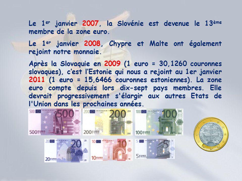 Le 1er janvier 2007, la Slovénie est devenue le 13ème membre de la zone euro.