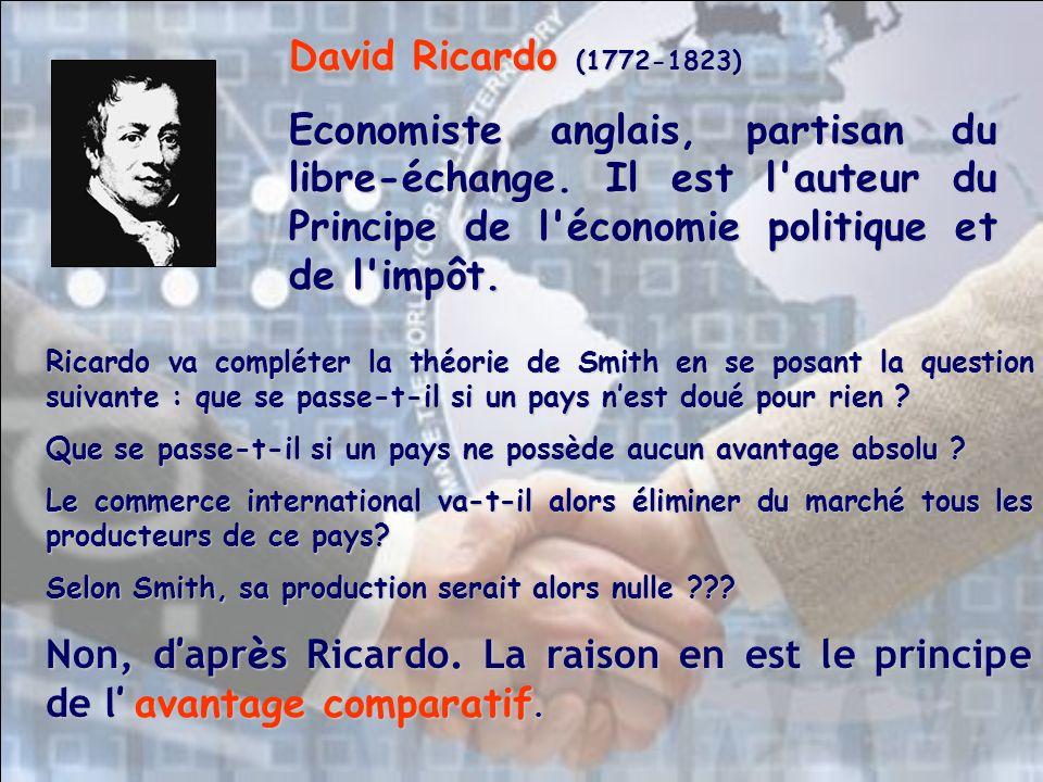 David Ricardo (1772-1823) Economiste anglais, partisan du libre-échange. Il est l auteur du Principe de l économie politique et de l impôt.
