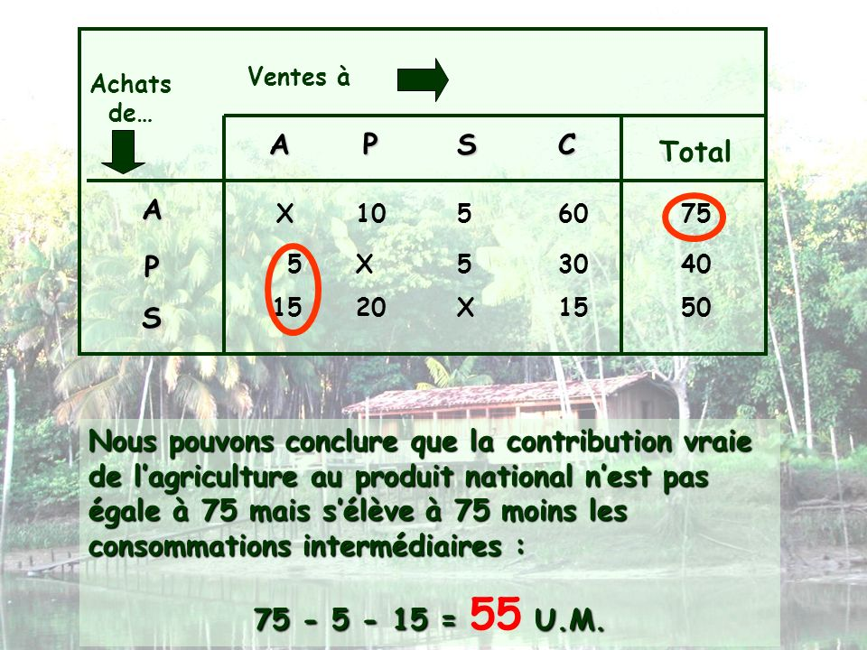 Ventes àAchats de… A. P. S. C. Total. A. X. 10. 5. 60. 75. P. 5. X. 5. 30. 40. 15. 20. X. 15. 50. S.