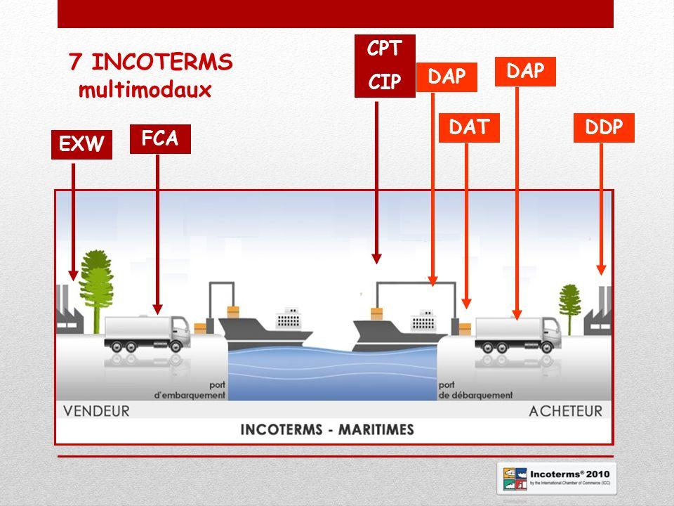 7 INCOTERMS multimodaux CPT CIP DAP DAP DAT DDP