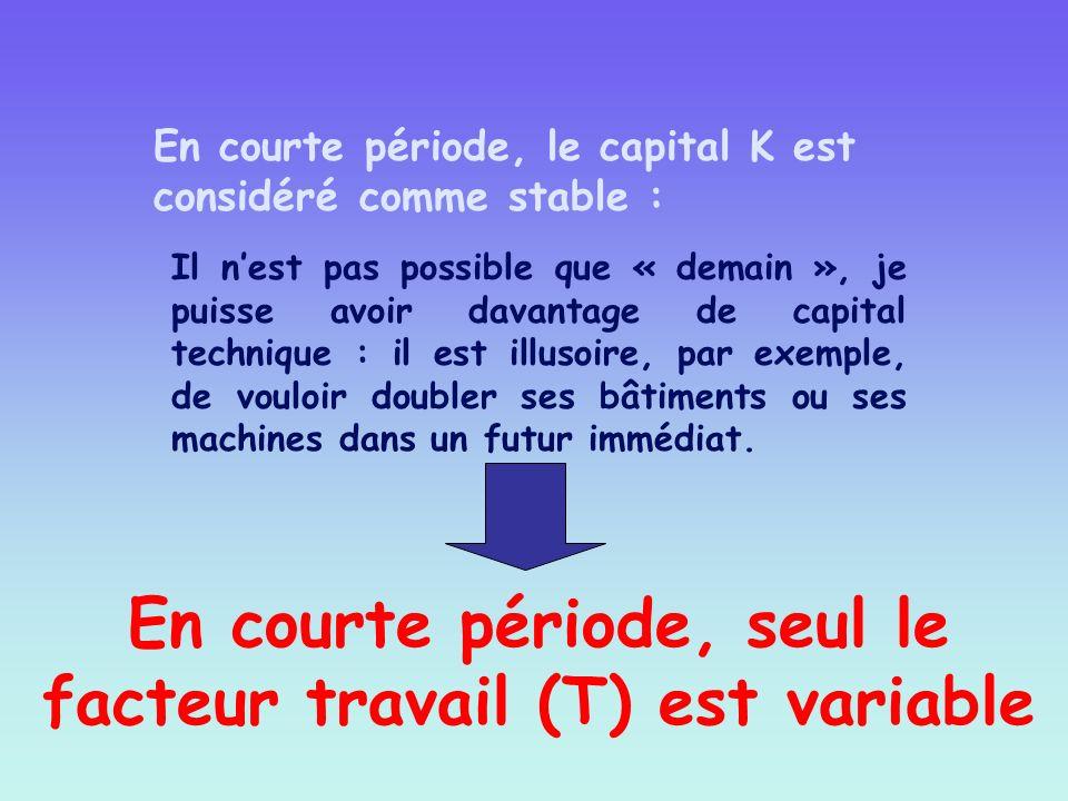 En courte période, seul le facteur travail (T) est variable