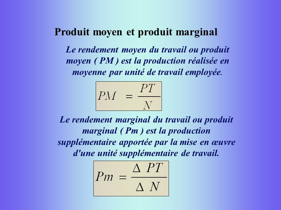 Produit moyen et produit marginal