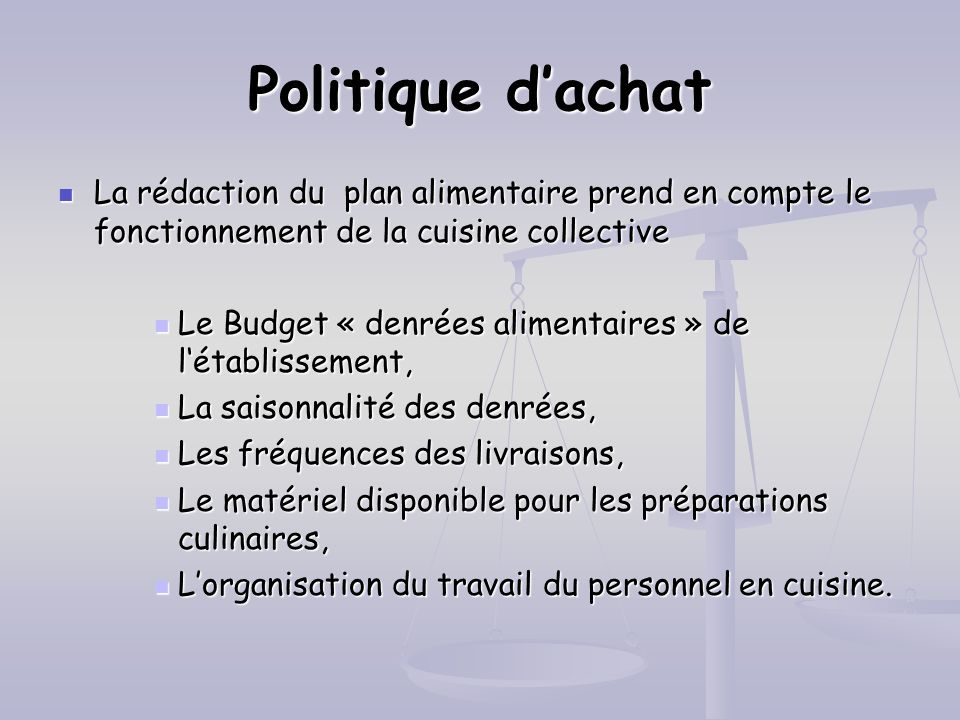 La nutrition et la restauration collective ppt t l charger for Responsable de cuisine collective