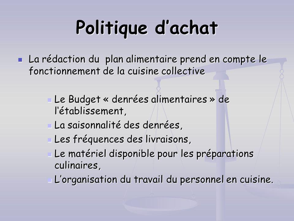 Politique d'achatLa rédaction du plan alimentaire prend en compte le fonctionnement de la cuisine collective.