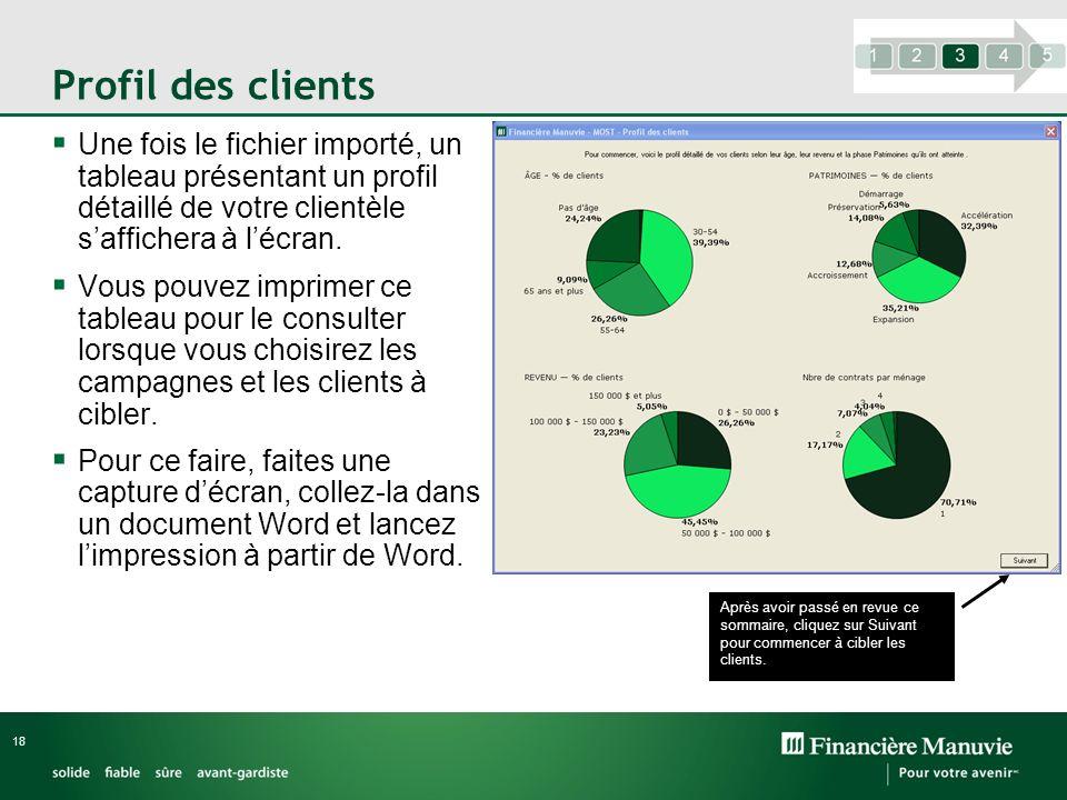 Profil des clients Une fois le fichier importé, un tableau présentant un profil détaillé de votre clientèle s'affichera à l'écran.