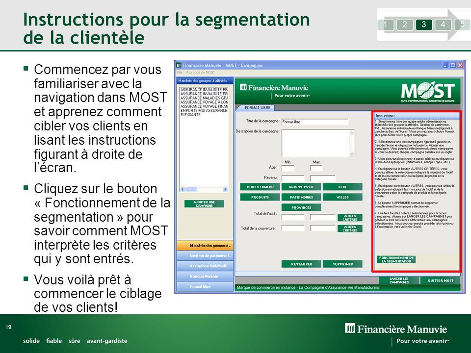 Instructions pour la segmentation de la clientèle