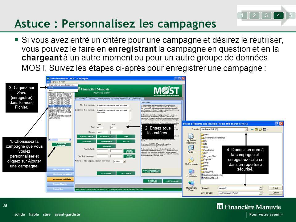 Astuce : Personnalisez les campagnes