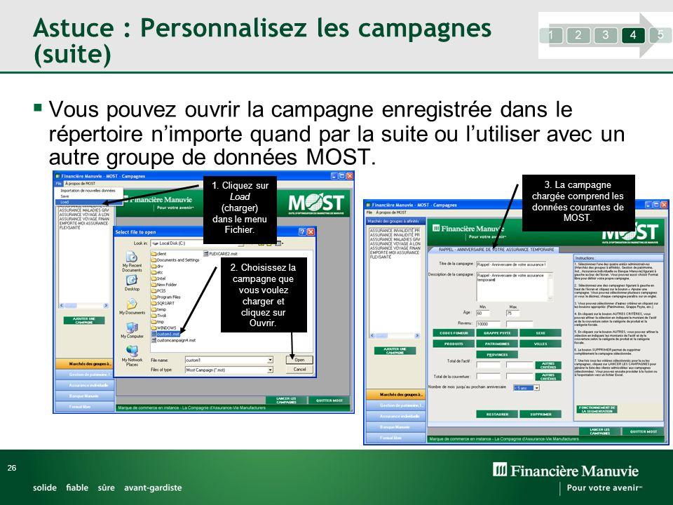 Astuce : Personnalisez les campagnes (suite)