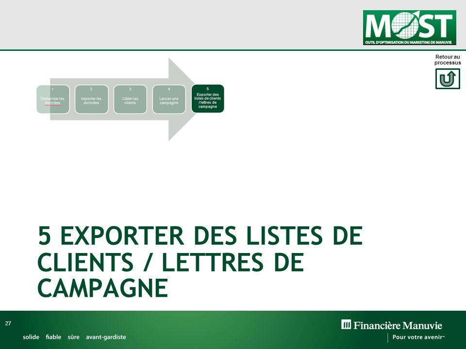 5 EXPORTER DES LISTES DE CLIENTS / LETTRES DE CAMPAGNE