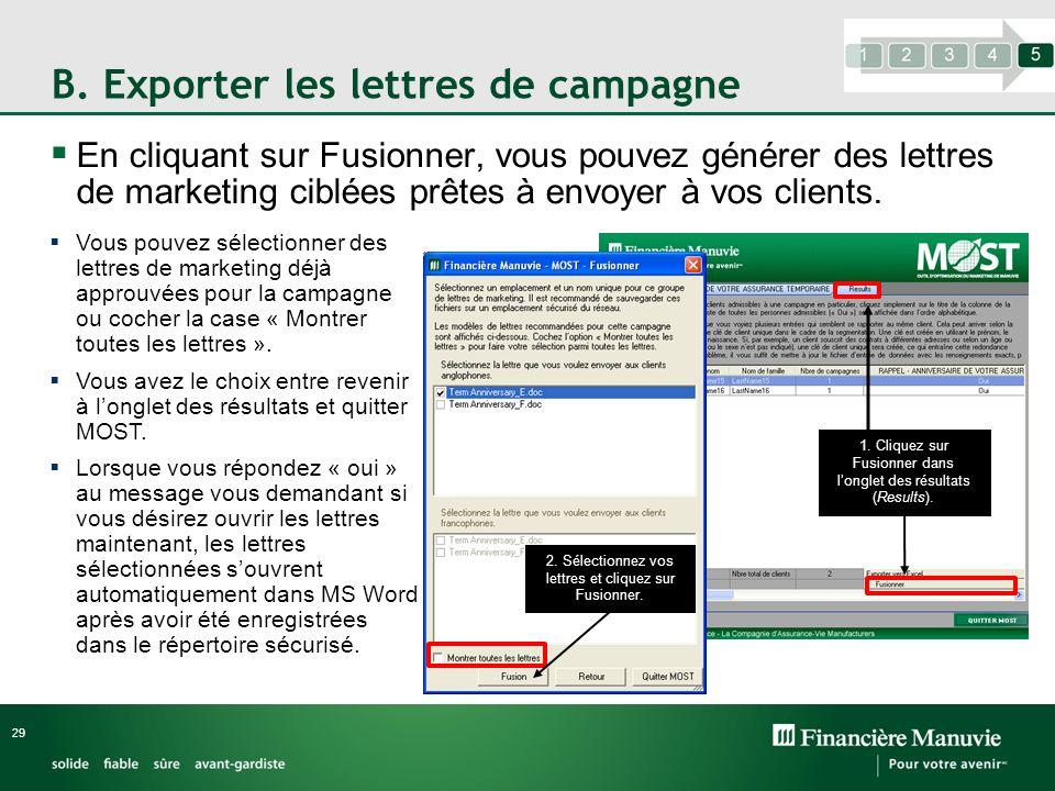 B. Exporter les lettres de campagne