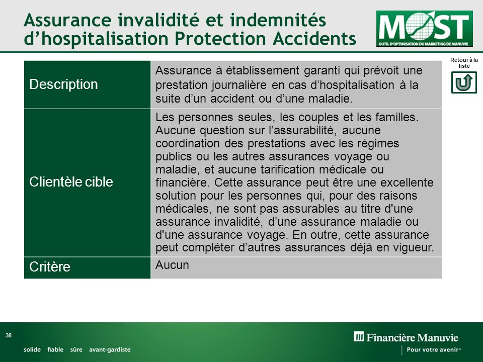Assurance invalidité et indemnités d'hospitalisation Protection Accidents