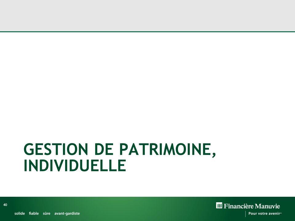 GESTION DE PATRIMOINE, INDIVIDUELLE
