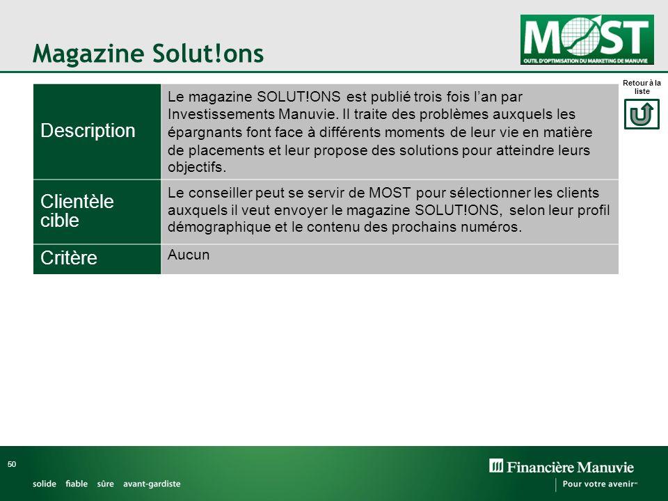 Magazine Solut!ons Description Clientèle cible Critère