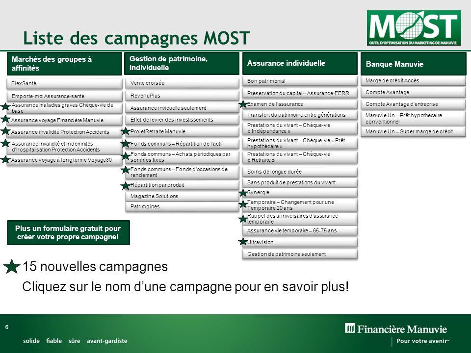 Liste des campagnes MOST