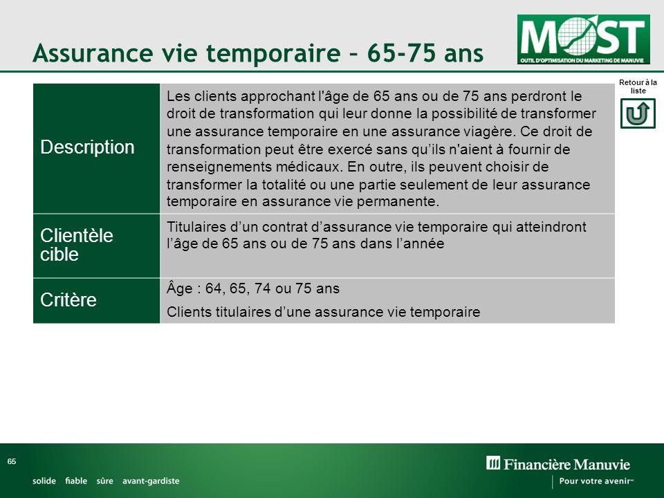 Assurance vie temporaire – 65-75 ans