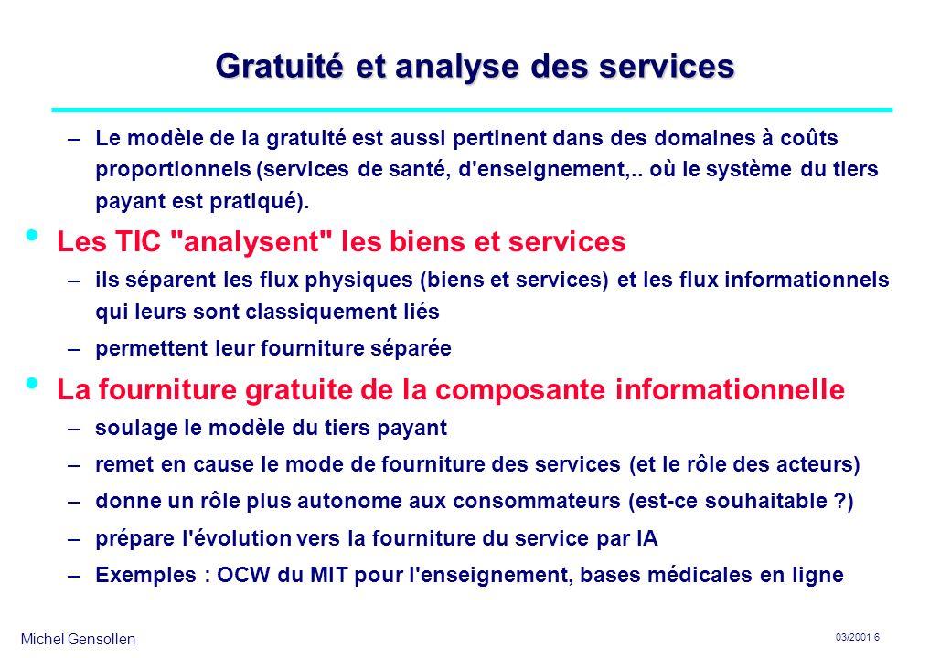 Gratuité et analyse des services