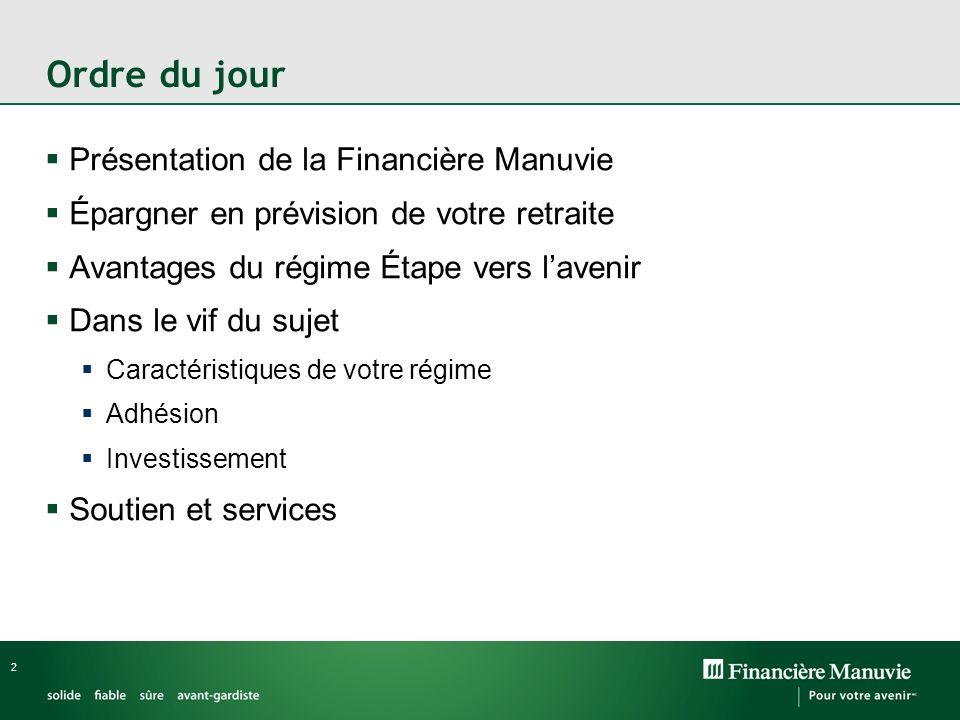 Ordre du jour Présentation de la Financière Manuvie