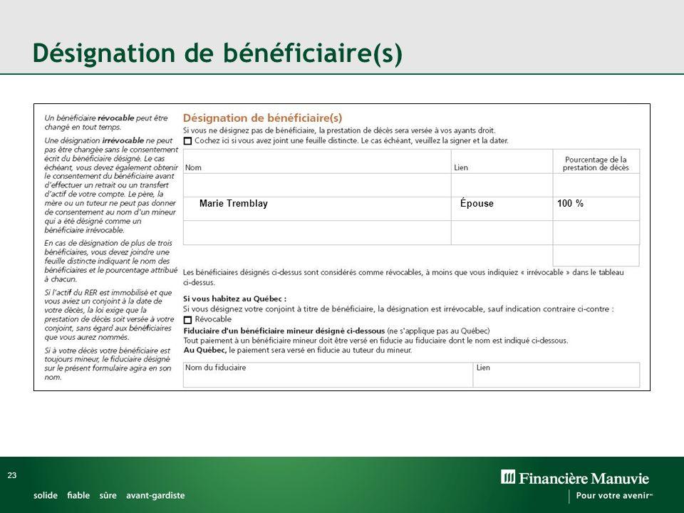 Désignation de bénéficiaire(s)