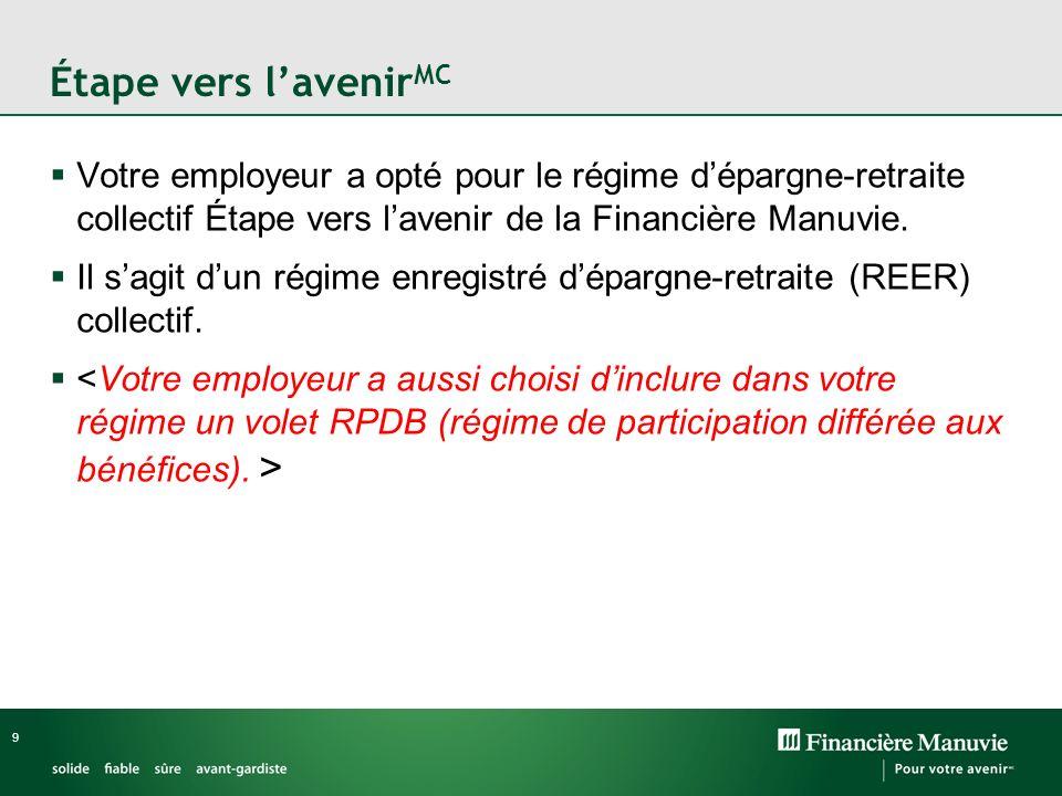 Étape vers l'avenirMC Votre employeur a opté pour le régime d'épargne-retraite collectif Étape vers l'avenir de la Financière Manuvie.